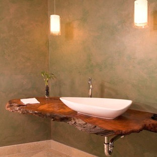 Floating redwood counter with hanging lights