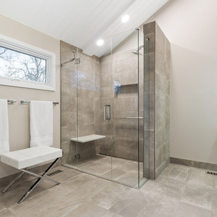 Mid-sized trendy master gray floor walk-in shower photo in Chicago with flat-panel cabinets, white cabinets, white walls and a hinged shower door