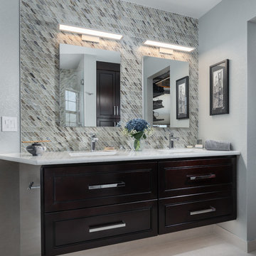 Floating vanities with drawers and hidden outlets