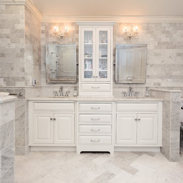Flush inset cabinetry double vanity