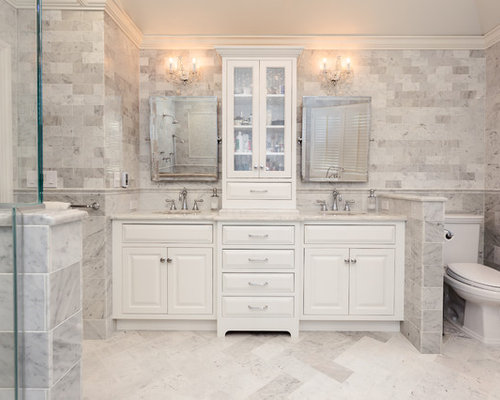Inspiration for a large timeless master white tile and stone tile marble  floor bathroom remodel in