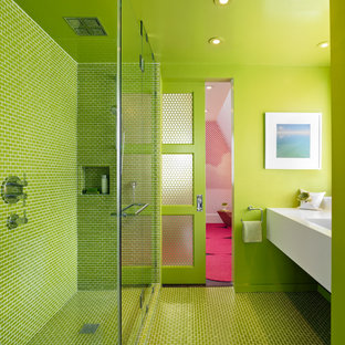 Trendy Green Tile Floor Corner Shower Photo In San Francisco With White Cabinets