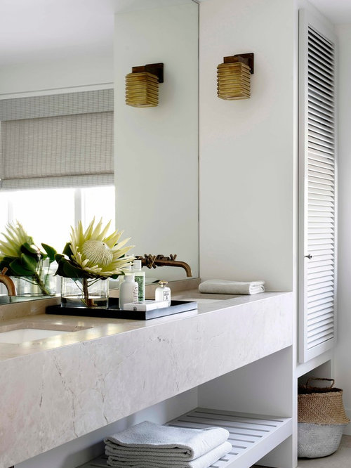 inspiration for a contemporary bathroom in sydney with an undermount sink and white walls