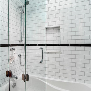 Inspiration for a small contemporary 3/4 black and white tile and ceramic tile ceramic floor bathroom remodel in Toronto with a one-piece toilet, blue walls and a drop-in sink