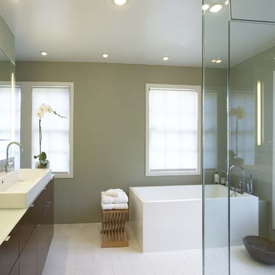 Mid-sized trendy master ceramic tile bathroom photo in New York with green walls, flat-panel cabinets, medium tone wood cabinets and a hinged shower door