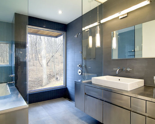 contemporary walk in shower idea in dc metro with a vessel sink - Big Bathroom Designs