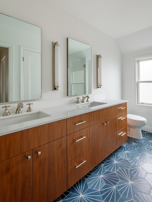 Inspiration For A Small Contemporary Master White Tile And Ceramic Tile  Cement Tile Floor And Blue