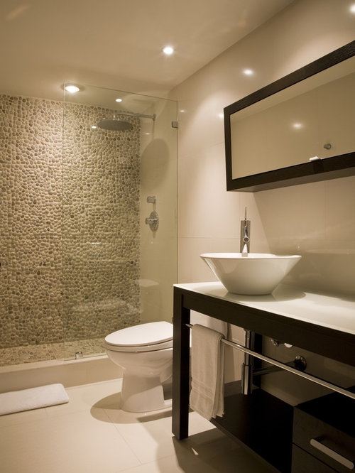 Doorless walk in shower houzz for Modern guest bathroom designs