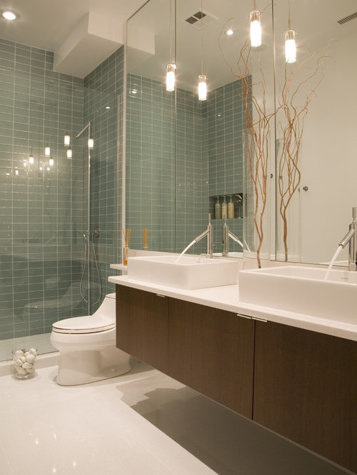inspiration for a glass tile bathroom remodel in dc metro with a vessel sink