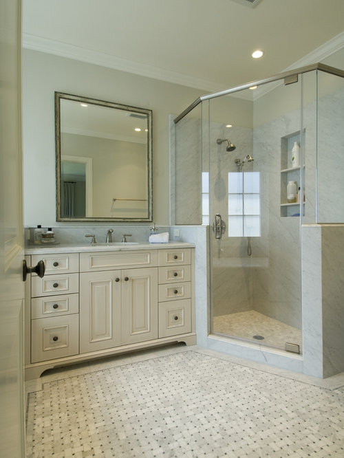 Solid surface shower ideas pictures remodel and decor for Master bathroom vanity single sink