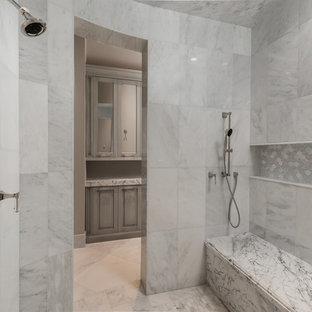 Design ideas for an expansive mediterranean ensuite bathroom in Phoenix with raised-panel cabinets, grey cabinets, a built-in bath, a walk-in shower, a one-piece toilet, multi-coloured tiles, marble tiles, beige walls, marble flooring, an integrated sink, marble worktops, multi-coloured floors, an open shower and multi-coloured worktops.