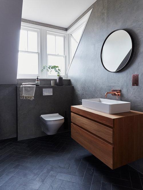 salle d 39 eau moderne avec un plan de toilette en bois photos et id es d co de salles d 39 eau. Black Bedroom Furniture Sets. Home Design Ideas