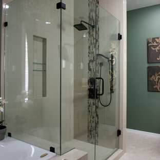 Mid-sized transitional master multicolored tile and glass sheet ceramic floor doorless shower photo in Other with raised-panel cabinets, white cabinets, a hot tub, green walls, an undermount sink and engineered quartz countertops