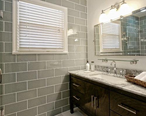 stanza da bagno shabby-chic style con piastrelle di vetro - foto ... - Piastrelle Bagno Shabby Chic