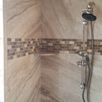 ForzaStone French Mocha Marble Walk in Shower