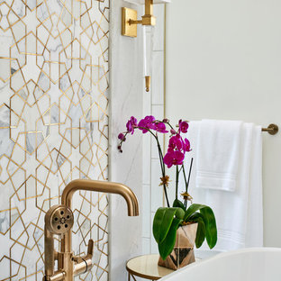 Inspiration for a large transitional master white tile and mosaic tile porcelain tile and white floor bathroom remodel in Austin with shaker cabinets, gray cabinets, a one-piece toilet, white walls, an undermount sink, quartz countertops and gray countertops