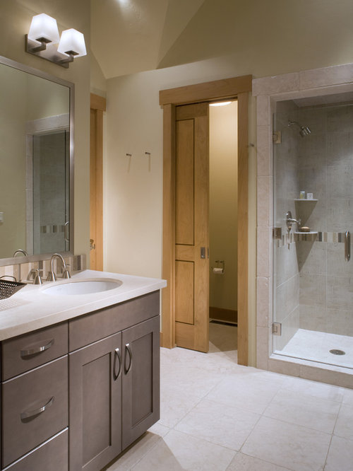 example of a trendy bathroom design in denver with an undermount sink shaker cabinets - Closet Bathroom Design