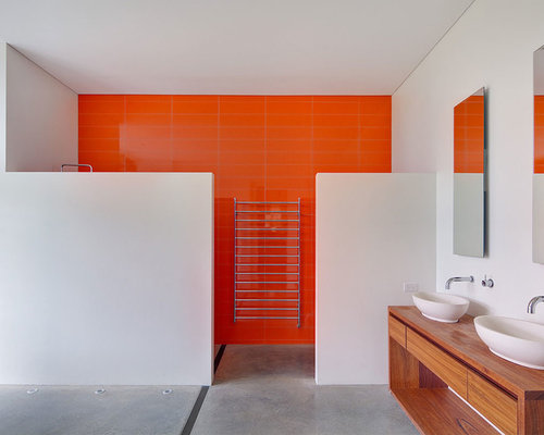 Trendy Orange Tile And Ceramic Tile Concrete Floor And Gray Floor Walk In  Shower Photo