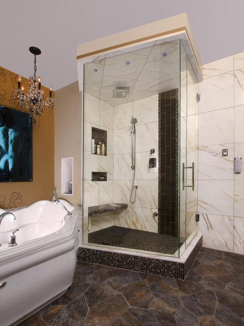 elegant material del suelo pizarra foto de cuarto de bao principal moderno de tamao medio con baera esquinera with suelo de pizarra