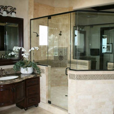 Eclectic Bathroom by A & D Glass Inc.