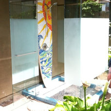 Tropical Bathroom by A & D Glass Inc.