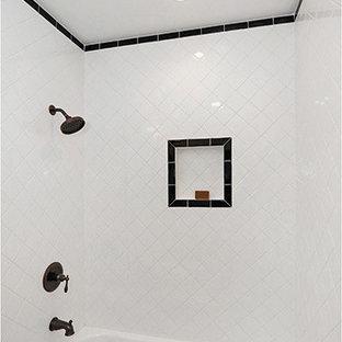 Cette photo montre une salle de bain sud-ouest américain de taille moyenne avec un lavabo encastré, un placard avec porte à panneau surélevé, des portes de placard blanches, un plan de toilette en marbre, une baignoire d'angle, un combiné douche/baignoire, un WC séparé, un carrelage blanc, des carreaux de céramique, un mur blanc et un sol en carrelage de céramique.