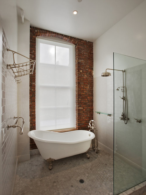 Inspiration For A Mid Sized Industrial 3/4 White Tile And Subway Tile Marble Great Ideas
