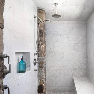 Inspiration for a rustic master white tile double shower remodel in Other