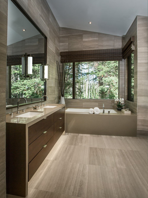 Inspiration For A Mid Sized Contemporary Master Gray Tile And Stone Tile  Limestone Floor Bathroom