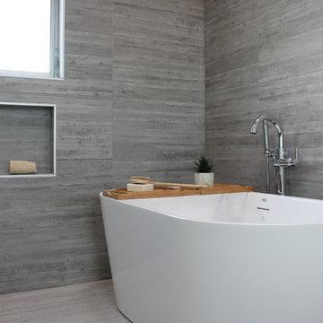 Freestanding Bathtub in Danish Modern Master Bath