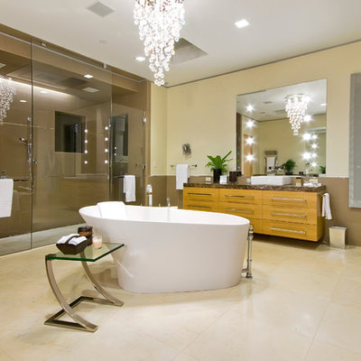 Inspiration for a contemporary freestanding bathtub remodel in San Francisco with a vessel sink
