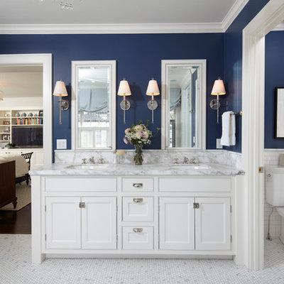 Bathroom - traditional bathroom idea in Minneapolis with marble countertops