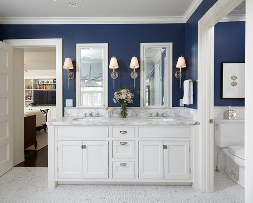 traditional bathroom idea in minneapolis with marble countertops - Bathroom Ideas Cream