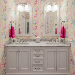 Example of a large classic kids' multicolored tile and stone tile marble floor bathroom design in Minneapolis with an undermount sink, white cabinets, marble countertops, multicolored walls and beaded inset cabinets