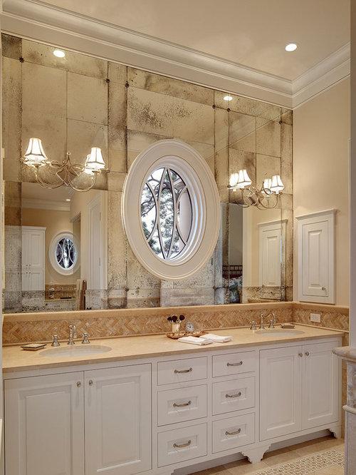Brass Bathroom Lighting Over Mirror