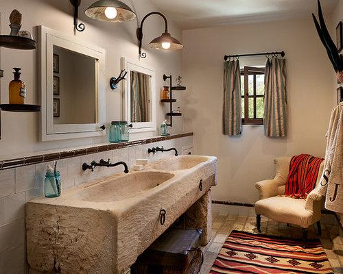 Bathroom   Mediterranean Beige Tile Bathroom Idea In Phoenix With An  Integrated Sink