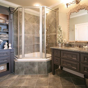 Bathroom - french country bathroom idea in Charlotte with granite countertops