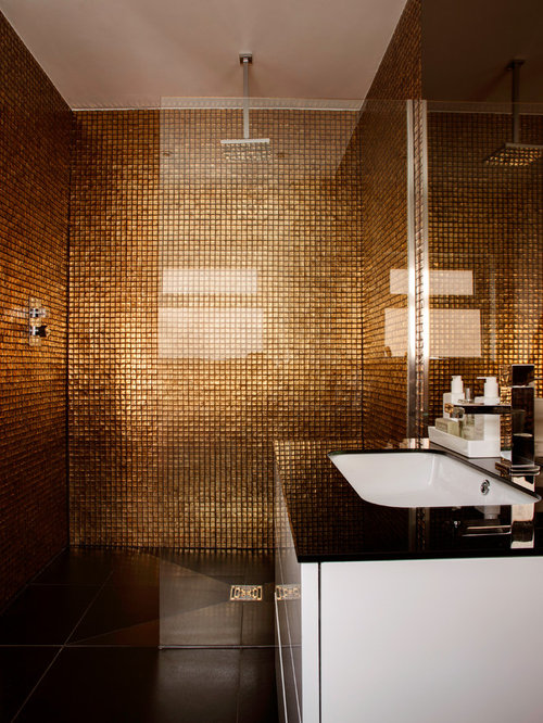 SaveEmail. Gold Mosaic Bathroom Design Ideas  Remodels   Photos