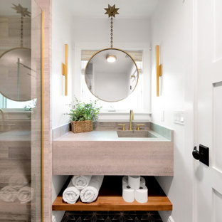 Small trendy 3/4 mosaic tile floor, multicolored floor and single-sink alcove shower photo in Los Angeles with gray cabinets, white walls, an integrated sink, a hinged shower door, gray countertops and a floating vanity