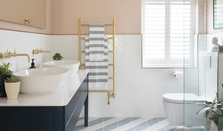Room Tour: Simple Hues and Pattern are Key in this Airy Bathroom