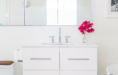 Room of the Day: A Fresh White Bathroom With a Bold Surprise Underfoot