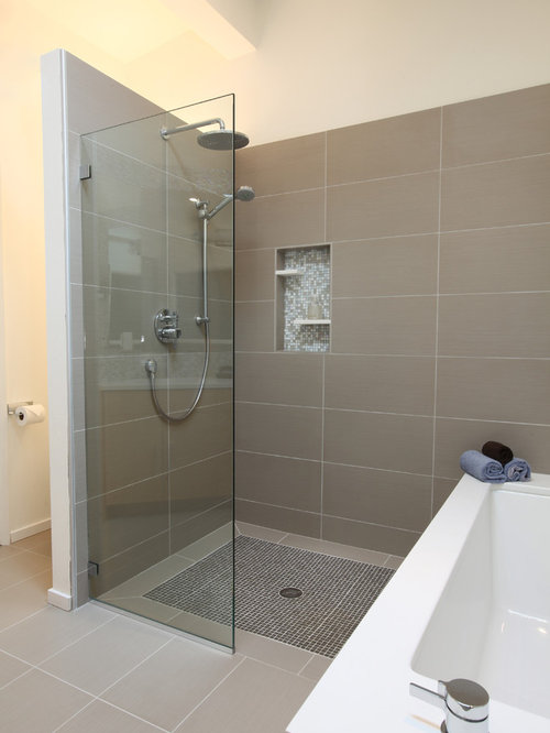 Example Of A Large Midcentury Modern Master Gray Tile And Porcelain Tile  Porcelain Floor Wet Room
