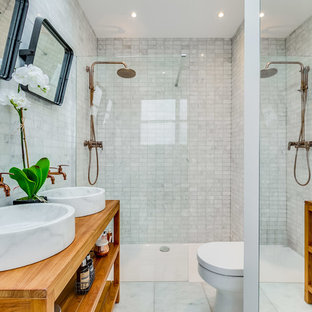 This Is An Example Of A Small Classic Bathroom In London With Open  Cabinets, A