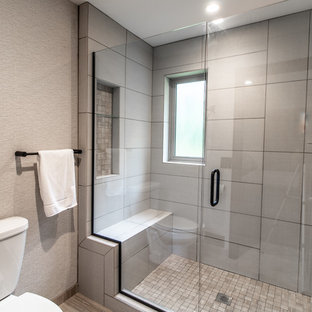 Mid-sized transitional master gray tile and ceramic tile ceramic tile and gray floor alcove shower photo in Other with a two-piece toilet, gray walls, a hinged shower door and white countertops