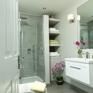 Classic shower room in Berkshire with flat-panel cabinets, white cabinets, a corner shower, grey tiles, grey walls and a console sink.