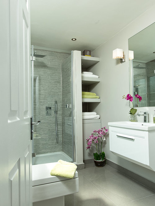Classic Shower Room In Berkshire With Flat Panel Cabinets, White Cabinets,  A Corner