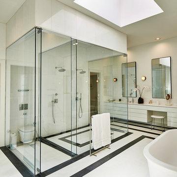 Full Ht Shower Glass & Marble Floors