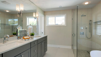Full Mirror and Clear Glass Shower