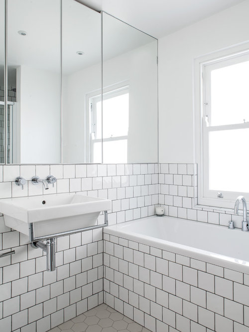 Example of a trendy bathroom design in London. Square Bathroom Layout   Houzz
