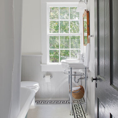 Inspiration for a small cottage 3/4 white floor and mosaic tile floor bathroom remodel in Other with white walls and a console sink